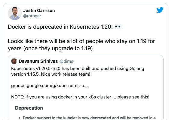 What does docker runtime deprecation in Kubernetes mean for Developers?